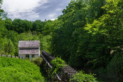 Slone's Grist Mill – Explore Park, Roanoke, Virginia, USA. Roanoke County, VA – May 14th; Slone's Grist Mill located at Explore Park just-off royalty free stock photography