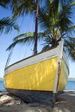 Sloop. A yellow-hulled sloop sits on a tropical beach stock photography