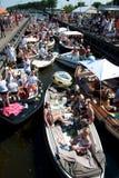 Sloop boats waiting for bridge Royalty Free Stock Photography