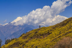The slope on a background of distant  mountains Royalty Free Stock Image