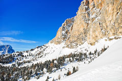 Slope of Dolomites mountain in Val Gardena Stock Images