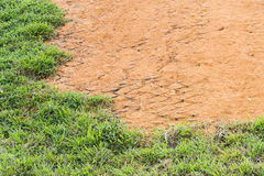 Slope erosion control close up with grids and grass planted Stock Image