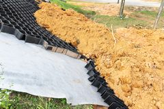 Slope erosion control grids, sheets and earth on steep slope royalty free stock photography
