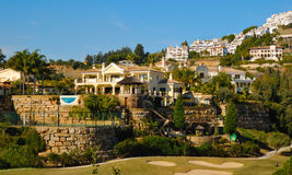 Slope filled houses royalty free stock photos