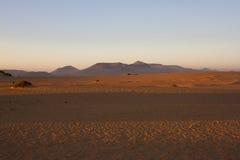 Slope hill sand on yellow dunes on blue sky background. Sunrise, morning. Sustainable ecosystem. Canary island Royalty Free Stock Image