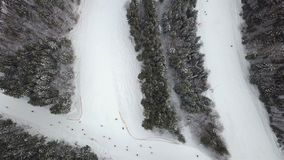 Slope for lowering skiers and snowboarders in the ski resort, top view stock video footage