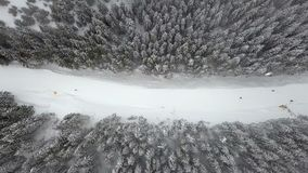 Slope for lowering skiers and snowboarders in the ski resort, top view stock video