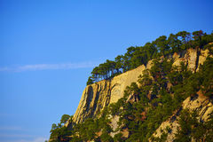 The slope of the mountain against the sky. Mountainside with trees in the background of a cloudless sky stock images