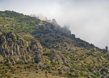 The slope of the mountain Demerdzhi the cloud mist Royalty Free Stock Image