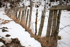 Slope of an old fence in the snow in the winter clear day Royalty Free Stock Image
