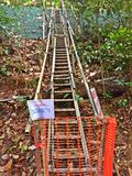 Slope repair at Bukit Timah nature reserve, Singapore. Construction work to repair and stabilise slopes to prevent further soil erosion in the tropical Royalty Free Stock Images