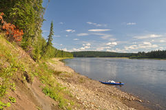 The slope of the river clear summer day. Royalty Free Stock Images