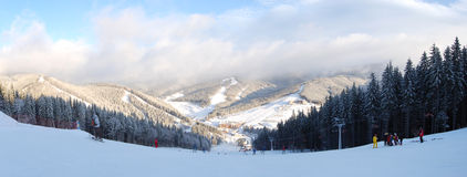 The slope's panorama of of Bukovel ski resort Stock Image