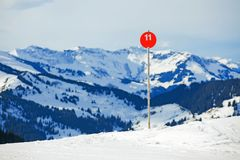 Slope on the skiing resort Royalty Free Stock Image