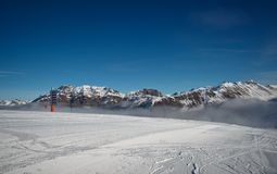 Slope on the skiing resort in Alps. Livigno, Italy Stock Photography