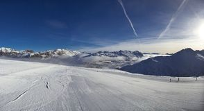 Slope on the skiing resort in Alps. Livigno, Italy Royalty Free Stock Photo
