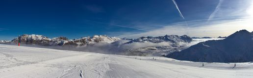 Slope on the skiing resort in Alps. Livigno, Italy Royalty Free Stock Photography