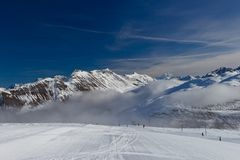 Slope on the skiing resort in Alps. Livigno, Italy Royalty Free Stock Image