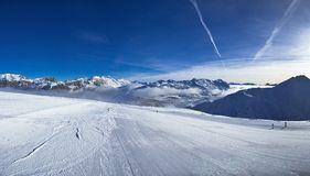 Slope on the skiing resort in Alps. Livigno, Italy Stock Images