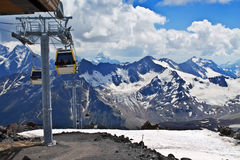 Slope on the skiing resort Elbrus. Royalty Free Stock Photo