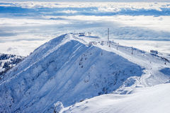 Slope on the skiing resort Royalty Free Stock Photography