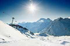 Slope on the skiing resort. Royalty Free Stock Images