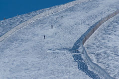 Slope on the skiing resort in the navacerrada madrid,spain Royalty Free Stock Photography