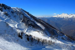 Slope on the skiing resort Rosa Khutor in Sochi, Russia Royalty Free Stock Photo