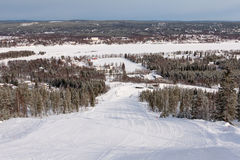 Slope on the skiing resort Rovaniemi, Finland Stock Images