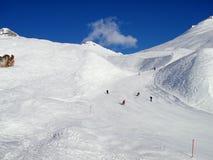 Slope on the skiing resort Scuol. Switzerland Stock Photo