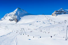 Slope on the skiing resort Royalty Free Stock Photo
