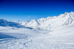 Slope on the skiing resort. Switzerland Stock Image