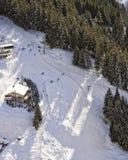 Slope at swiss alpine resort aerial view Stock Photo