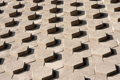 Slope of symmetrical hexagonal stones Royalty Free Stock Images