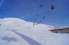 Slope under a chairlift Royalty Free Stock Photography