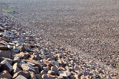 Slope of water dam built by stone Royalty Free Stock Image