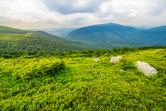 Slope with white boulders in mountains at sunrise Royalty Free Stock Photos