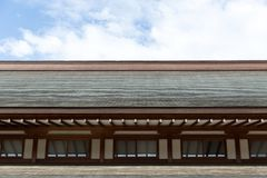 Slope wooden roof in Japanese Shrine Temple. Traditional style stock photography