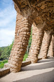 Sloped columns at the Guell Park, Barcelona, Spain Royalty Free Stock Photography