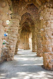 Sloped columns at the Guell Park, Barcelona, Spain Royalty Free Stock Images