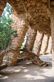 Sloped columns at the Guell Park, Barcelona, Spain. Sloped columns and covered walkway at the Guell Park, Barcelona, Spain which are the load bearing supports Royalty Free Stock Photo