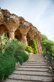Sloped columns at the Guell Park, Barcelona, Spain. Sloped columns and covered walkway at the Guell Park, Barcelona, Spain which are the load bearing supports Royalty Free Stock Photos