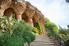 Sloped columns at the Guell Park, Barcelona, Spain. Sloped columns and covered walkway at the Guell Park, Barcelona, Spain which are the load bearing supports Stock Images