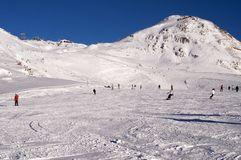 Slopes in Deux Alpes. France Royalty Free Stock Photo