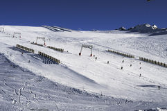 Slopes in the Deux Alpes ski resort. France Stock Photos