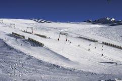 Slopes in the Deux Alpes ski resort. France. Some slopes and ski tracks in the Oisans range. France stock photos