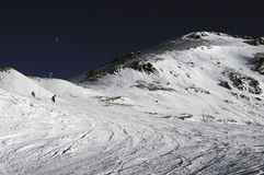 Slopes in the Deux Alpes ski resort. France Royalty Free Stock Photo