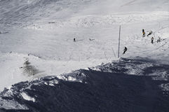 Slopes in the Deux Alpes ski resort. France Royalty Free Stock Photos