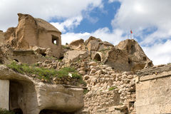 On the slopes of the fortress of Uchisar. Stock Images