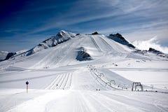 Slopes of Hintertux 1, Austria. Winter landscape at Hintertux Glacier in Zillertal, Austria Royalty Free Stock Photo